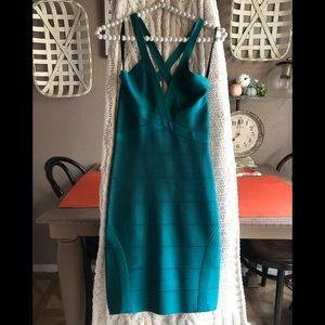 Bebe Dress Bandage Body Con Emerald Green
